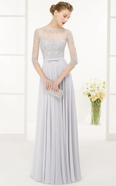 Bateau 3-4-sleeve Pleated Dress With Illusion And Beading