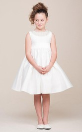 Layered Ribbon 3-4-Length Jewel Flower Girl Dress
