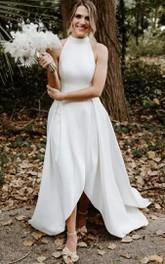 A Line Halter High Neck Satin High-Low Sleeveless Open Back Backless Wedding Dress