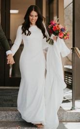 Bateau Satin Long Sleeve Chapel Train Button Mermaid Wedding Dress