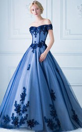 Off-the-shoulder Tulle Sleeveless Floor-length Formal Dress with Ruffles