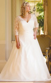 V-neck 3-4-sleeve A-line plus size Wedding Dress With Lace And Court Train