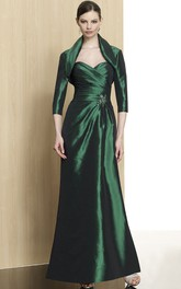 Ankle-Length Broach Formal Cape Long-Sleeve Column Satin Dress