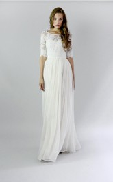 Chiffon Lace Pleats Button-Back Jewel Gown