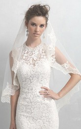 Soft Tulle Elbow Veil with Lace Applique Edge