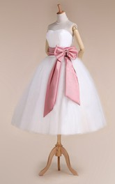 Tulle Satin Ribbon Bow Lace-Up-Back Sweetheart Dress
