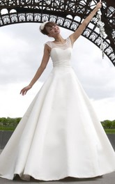 stirring Scoop-neck Sleeveless Satin A-line Wedding Dress With bow And Low-V Back