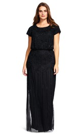Scoop-neck Cap-sleeve Pencil long Dress With Beading