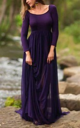 Square-neck Long Sleeve Floor-length draped Dress With Sweep Train