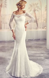 Off-the-shoulder Lace Long Sleeve Wedding Dress With Illusion And Court Train