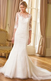 Mermaid/Trumpet Scoop-neck 3-4-sleeve Wedding Dress With Appliques And Court Train