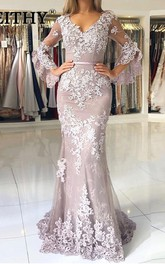 V-neck Lace 3/4 Length Sleeve Floor-length Brush Train Button Mermaid Prom Dress