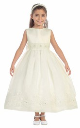 Lace Satin Sash Jeweled Ankle-Length Flower Girl Dress