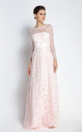 Floor-length A-Line Bateau Scalloped Long Sleeve Lace Prom Dress with Beading and Pockets