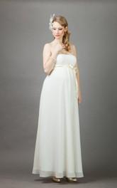 Floor-Length Wedding Long Queen-Anne Bolero Pregnant Gown