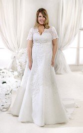 Short Sleeve V-neck Lace Trumpet Wedding Dress With Appliques
