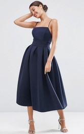 A-Line Spaghetti Tea-Length Sleeveless Satin Bridesmaid Dress