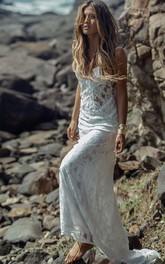 Spaghetti Lace  Sleeveless Wedding Gown