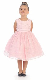 Pleated Satin Ribbon Layered 3-4-Length Lace Flower Girl Dress