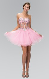 A-Line Short Sweetheart Sleeveless Tulle Illusion Dress With Beading And Ruffles