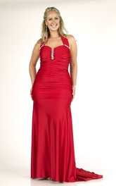 Haltered Sheath Ruched plus size Dress With Beading And Zipper