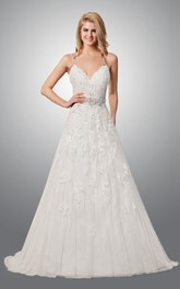 Spaghetti V-neck A-line Pleated Lace Backless Wedding Dress With Sweep Train