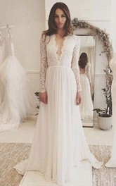 V-neck Chiffon Lace Illusion Long Sleeve Wedding Gown