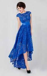 High-Neckline Lace High-Low A-Line Low-V-Back Short-Sleeve Dress
