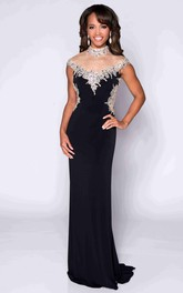 High Neck Cap Sleeve Keyhole Back Jersey Prom Dress With Shining Top