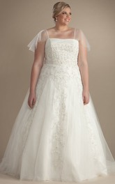 Spaghetti Tulle A-line Ball Gown plus size wedding dress With Beading