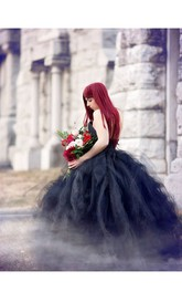 Floor-length Strapless Black Wedding Dress A-Line Sleeveless Open Back With Zipper Ruffles
