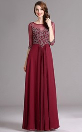 Short-Sleeve Keyhole Floor-Length Empire Jewel Dress