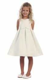 Pleated Slit Front Midi-Length Slit Flower Girl Dress