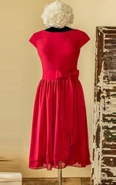 Scoop-neck Short Sleeve Knee-length Dress With bow And Pleats