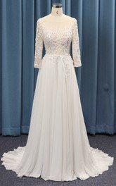 A-line 3/4 Sleeve Adorable Wedding Dress With Lace Top And Chiffon Ruched Skirt And Sash