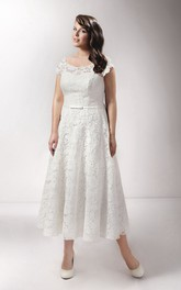 Scoop-neck Short Sleeve Lace Tea-length Wedding Dress With Appliques And Corset Back