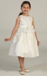 Taffeta Peplum Layered Midi-Length Flower Girl Dress