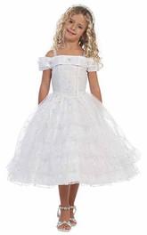 Lace Layers Slit-Front Tea-Length Flower Girl Dress
