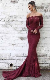Off-the-shoulder Lace Long Sleeve Floor-length Court Train Prom Dress