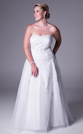 Strapless Lace A-line plus size Gown With Appliques And Court Train