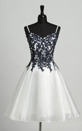 A-Line Straps Organza Sleeveless Straps Elegant Romantic Short Mini Dress with Appliques