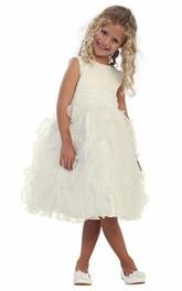Ruched Satin Sleeveless Tea-Length Organza Flower Girl Dress