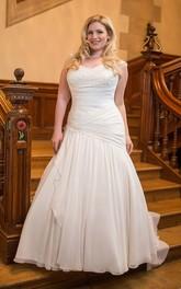 Floor-Length Sleeveless Chiffon Long Trumpet Cap Sweetheart Dress