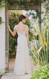 Chiffon Satin Sash Crystal Cap V-Neckline Dress