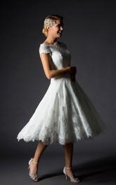V-Neckline Appliqued Lace-Up-Back Short A-Line Zipper Cap Gown