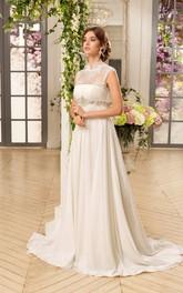 Sleeveless Lace Waist Jewellery Long A-Line Chiffon Dress