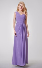 One Shoulder A-line Long Chiffon Dress With Ruched Top