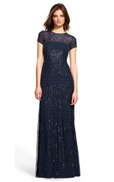 Jewel-Neck Short Sleeve Sequined Dress With Beading And Zipper