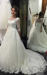 Bateau Lace Tulle Illusion 3/4 Length Sleeve Wedding Dress