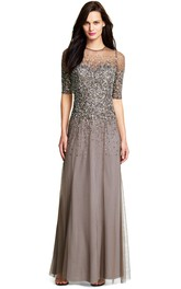 A-Line Scoop-Neck Floor-Length Half-Sleeve Sequined Bridesmaid Dress